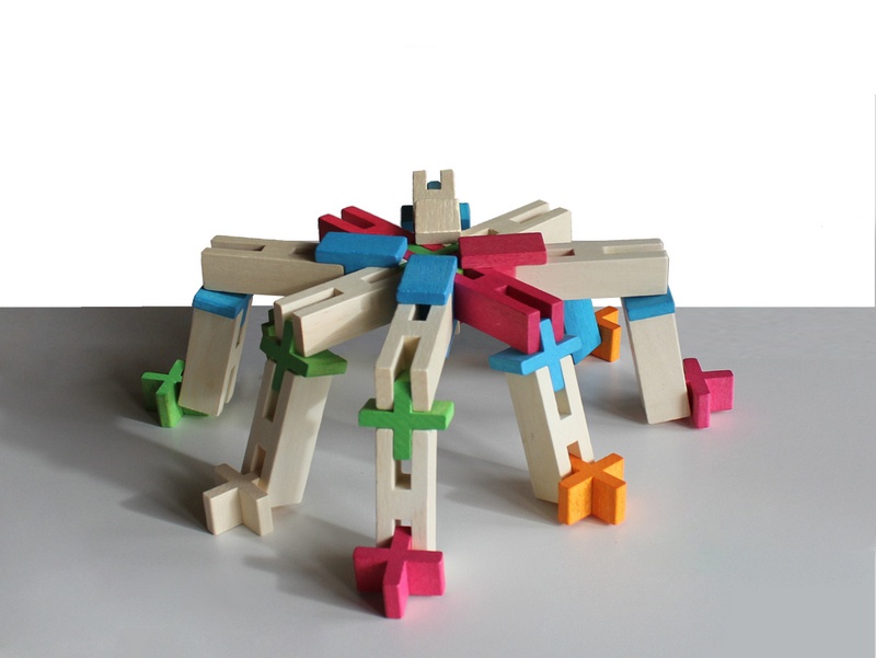 wooden spider made by building blocks