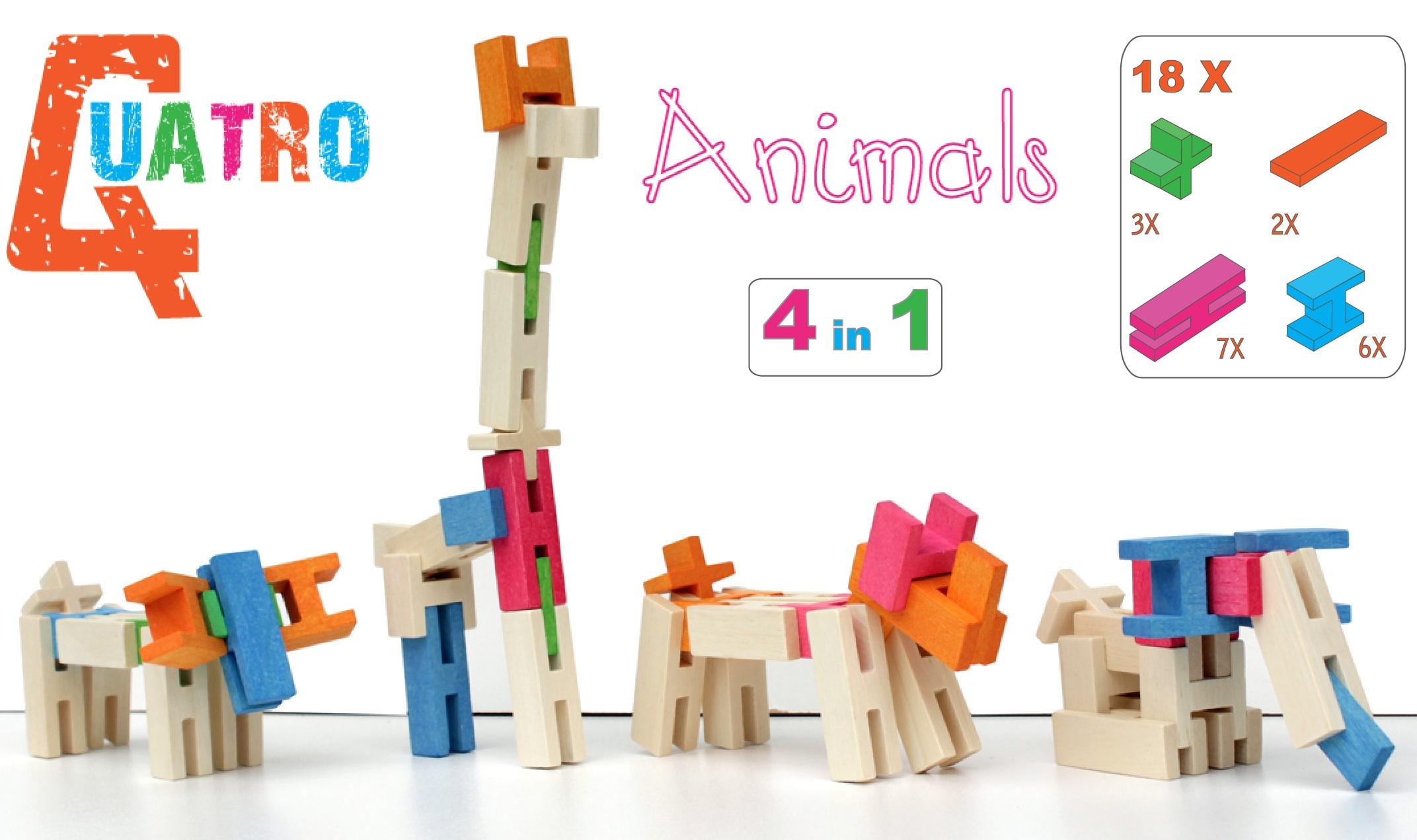 houten speelgoed blokken dieren set