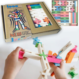 Luco wooden toys 42 Pcs set with extra long planks