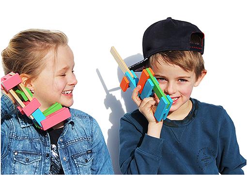 Children playing Luco Large For smart children Eco wooden Blocks Lucotoys